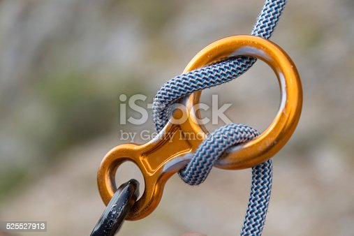 Close up of Aluminium figure eigth with rope outdoor.