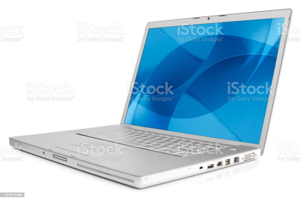 Aluminium laptop isolated on white with blue screensaver royalty-free stock photo