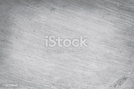 istock aluminium metal texture background, scratches on polished stainless steel. 1132208452