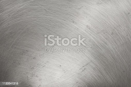 istock aluminium metal texture background, scratches on polished stainless steel. 1133541315