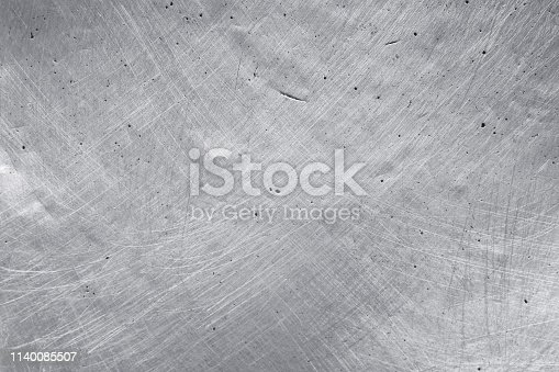 istock aluminium metal texture background, scratches on polished stainless steel. 1140085507