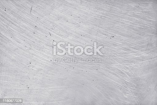 istock aluminium metal texture background, scratches on polished stainless steel. 1150677026