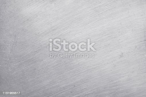 istock aluminium metal texture background, scratches on polished stainless steel. 1151955517