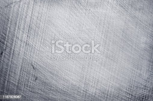 istock aluminium metal texture background, scratches on stainless steel. 1167928087