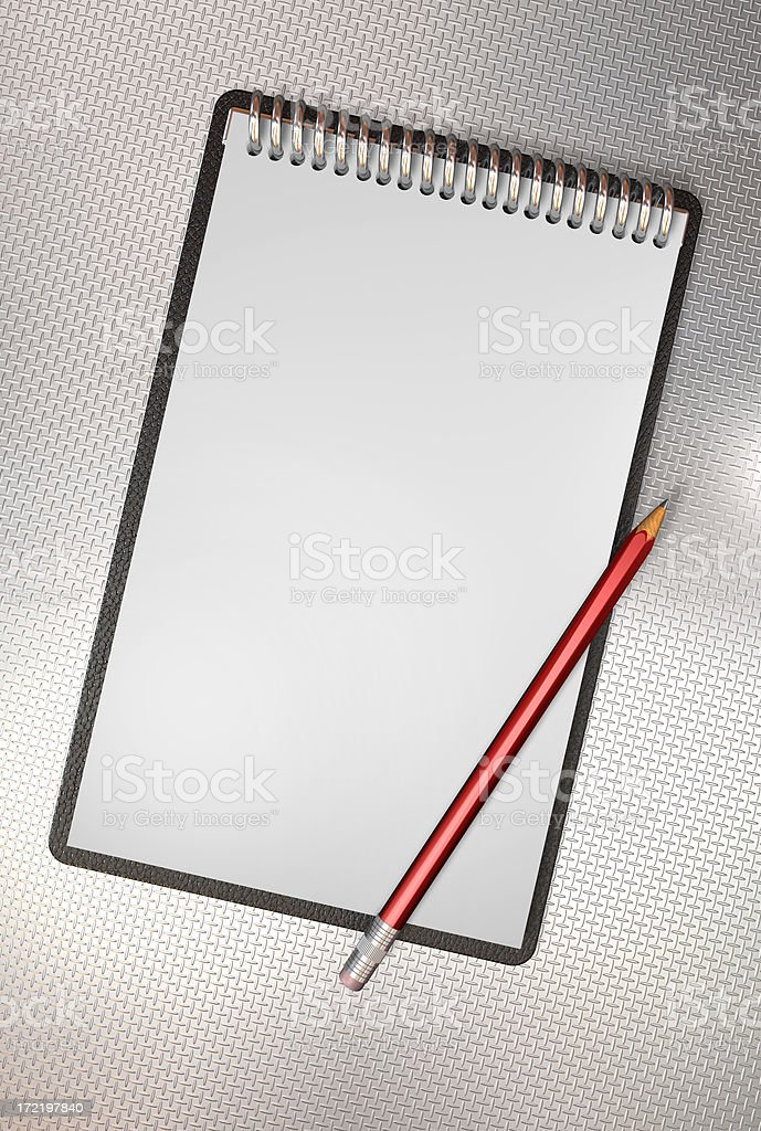 Aluminium note book stock photo