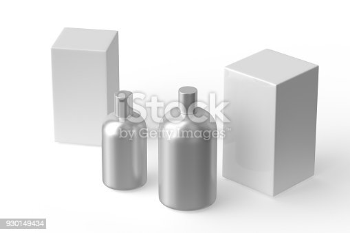 istock Aluminium perfume liquid. Feminine beauty concept isolated on white. 930149434