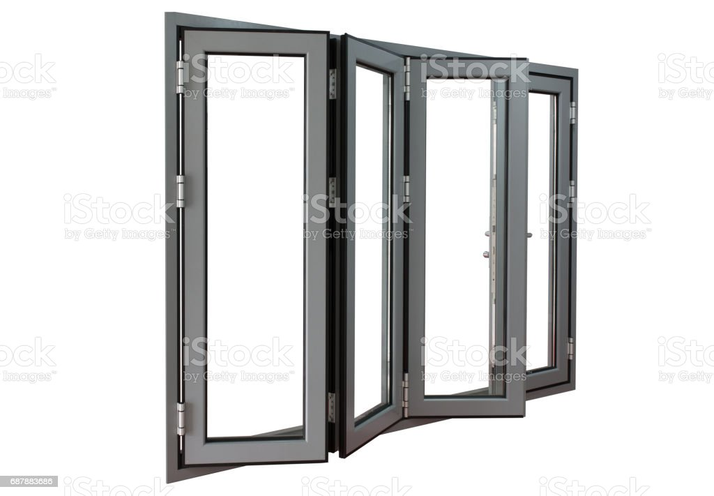 aluminium powder coated frame bi-fold doors stock photo