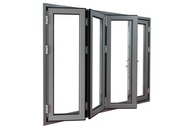 aluminium powder coated frame bi-fold doors four panels commercial aluminium frame bi-fold doors foldable stock pictures, royalty-free photos & images