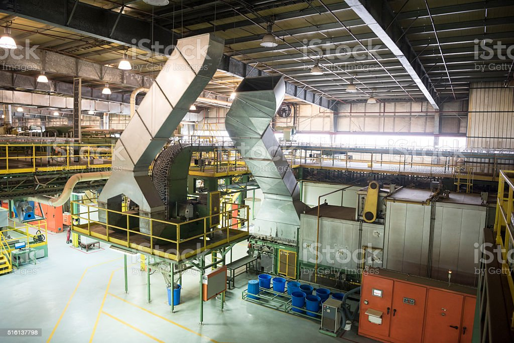 Aluminium processing plant, chutes and containers stock photo