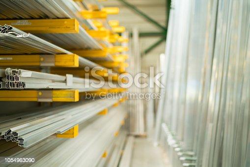 istock aluminium profiles stored in warehouse 1054963090