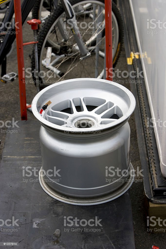 Aluminium racing wheel royalty-free stock photo