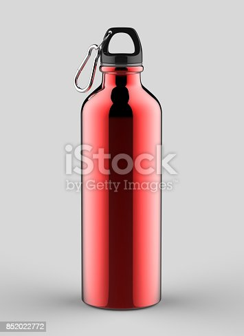 852024650istockphoto Aluminium red silver metal shiny sipper bottle for mock up and template design. 852022772