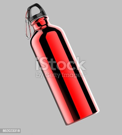 852024650istockphoto Aluminium red silver metal shiny sipper bottle for mock up and template design. 852023318