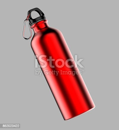 852024650istockphoto Aluminium red silver metal shiny sipper bottle for mock up and template design. 852023422