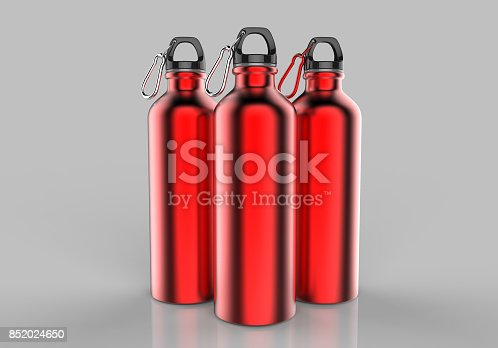 852024650istockphoto Aluminium red silver metal shiny sipper bottle for mock up and template design. 852024650