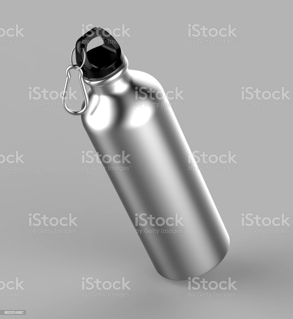 Aluminium silver brushed metal shiny sipper bottle for mock up and template design. stock photo