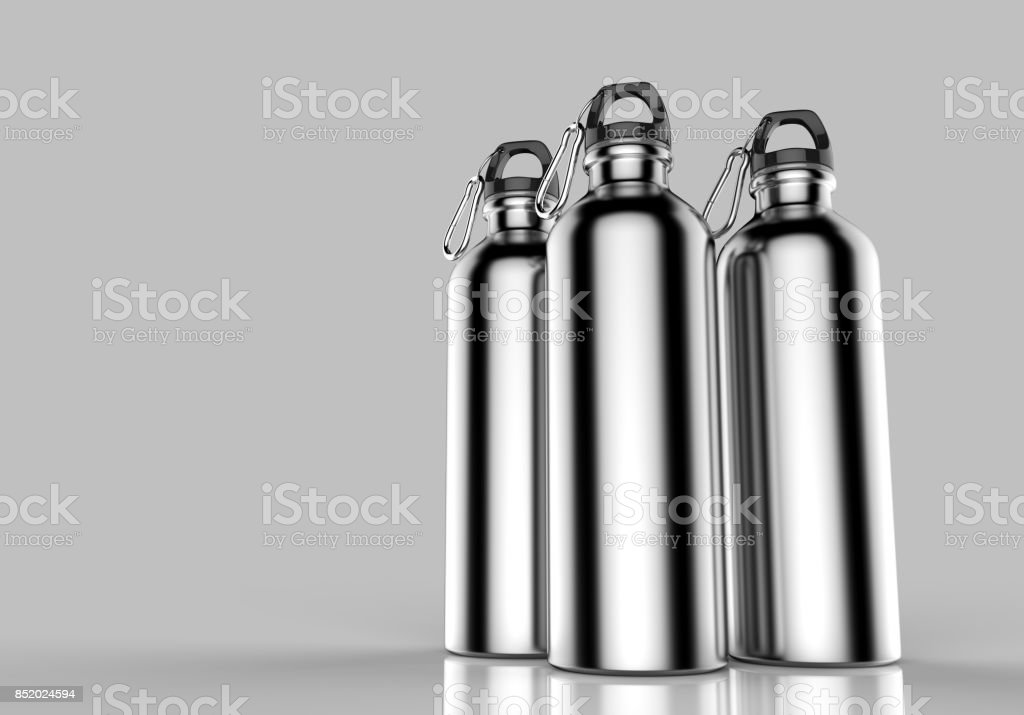 Aluminium silver metal shiny sipper bottle for mock up and template design. stock photo