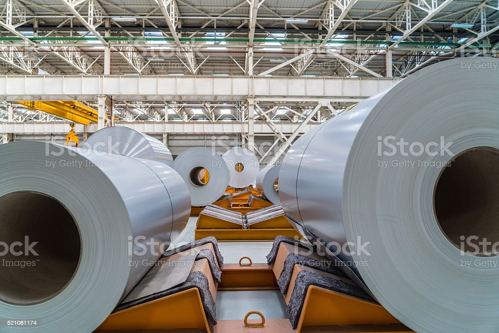 Aluminium steel rools stock photo