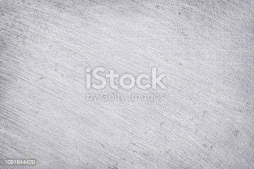 istock aluminium texture background, scratches on stainless steel. 1091644420