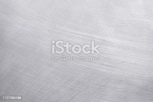istock aluminium texture background, scratches on stainless steel. 1127264196