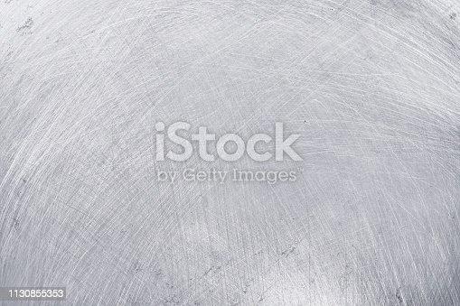 istock aluminium texture background, scratches on stainless steel. 1130855353