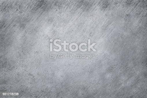 istock aluminium texture background, scratches on stainless steel. 931218238