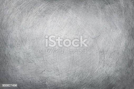 istock aluminium texture background, scratches on stainless steel. 935827456