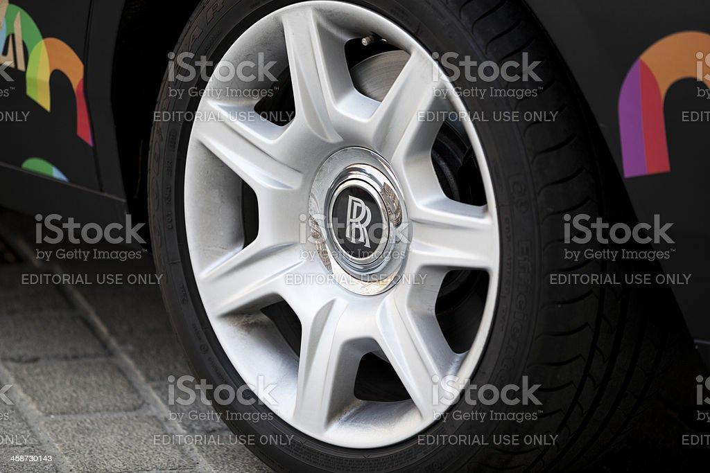 Aluminium wheel with Rolls Royce logo. royalty-free stock photo