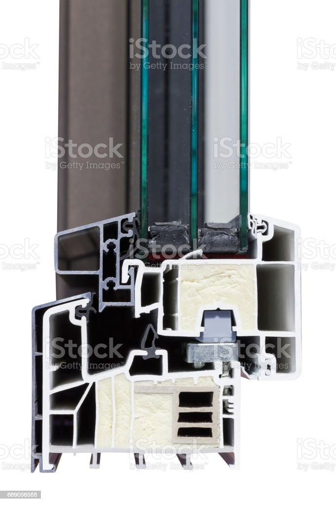 PVC aluminium window profile with glass and insulation stock photo