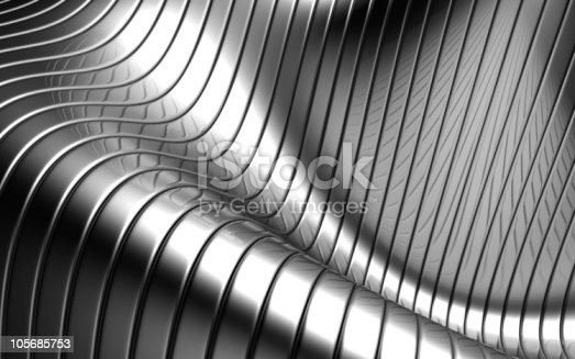 istock Aluminum abstract silver stripe wave shape background 105685753