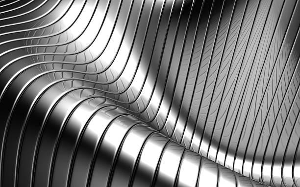 abstrato de alumínio onda forma listra prata fundo - cromo metal - fotografias e filmes do acervo