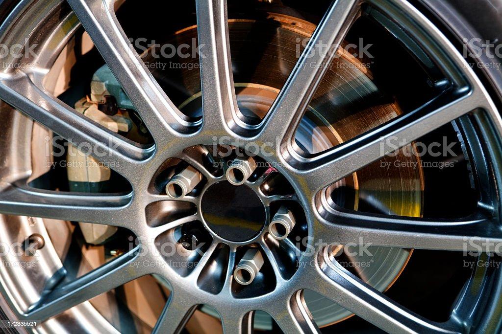 Aluminum alloy rim on a car wheel royalty-free stock photo