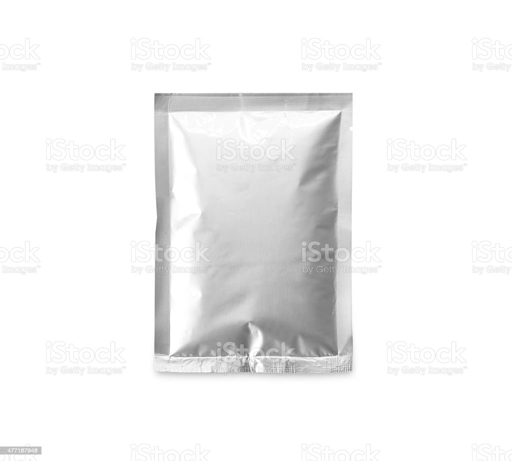 Aluminum bag containing chemicals stock photo