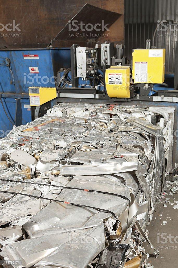 Aluminum Baler at Recycling Center stock photo