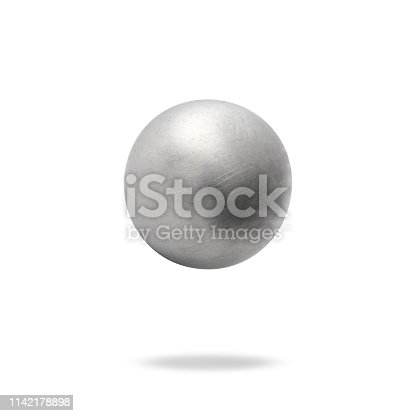 Aluminum ball in mid-air with shadow.
