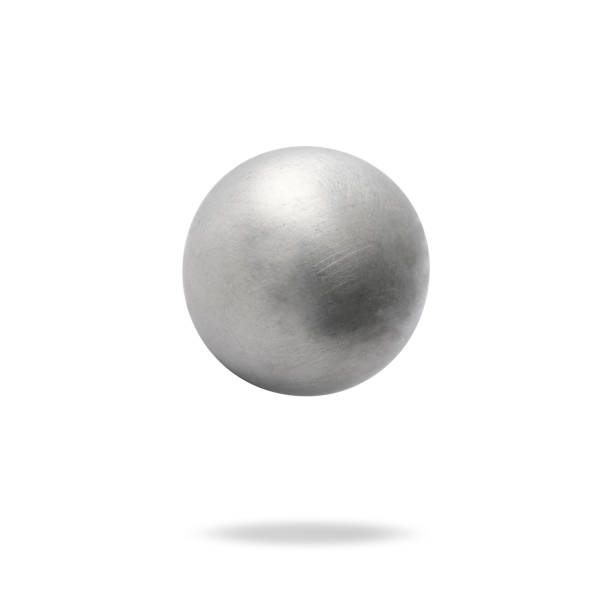 Aluminum ball in mid-air. stock photo