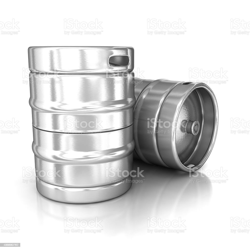 Aluminum beer kegs stock photo
