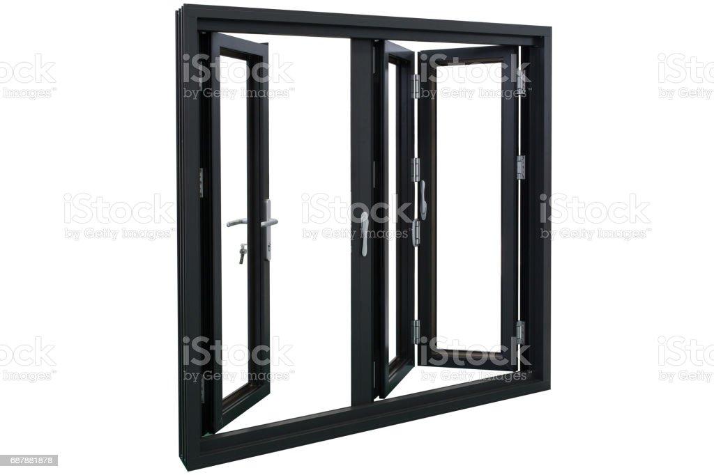 aluminum bi folding doors stock photo