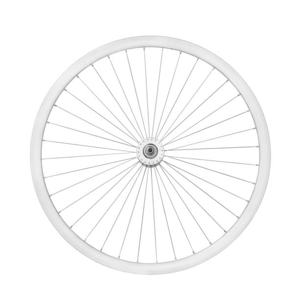 Aluminum bicycle wheel Aluminum bicycle wheel without tire. Top view, isolated on white, clipping path included wheel stock pictures, royalty-free photos & images