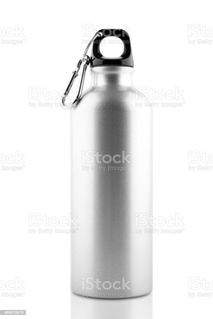 Aluminum bottle water isolated - foto stock