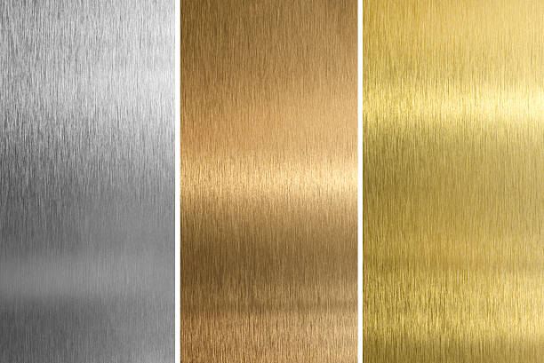 aluminium, bronze et laiton cousues textures - couleur argentée photos et images de collection