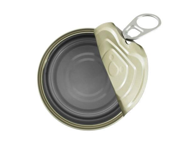 알루미늄 캔 (통조림) 오픈 및 빈 흰색 배경에 고립 - 캔 뉴스 사진 이미지