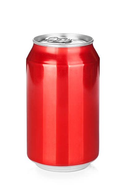 Aluminum can Aluminum red soda can. Isolated on white background can stock pictures, royalty-free photos & images