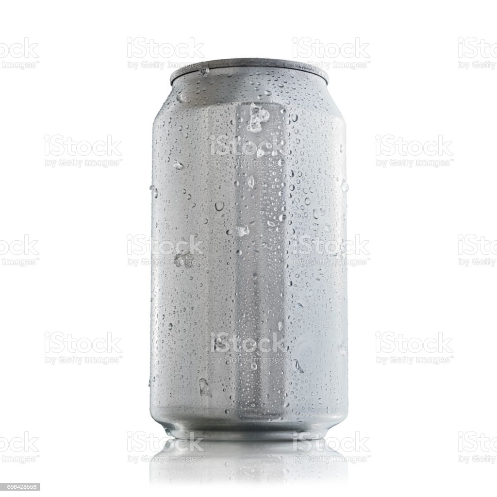 Aluminum can with condensation drops for mock up stock photo