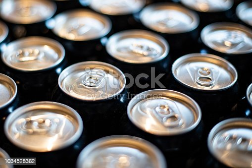 View of a display of aluminum cans