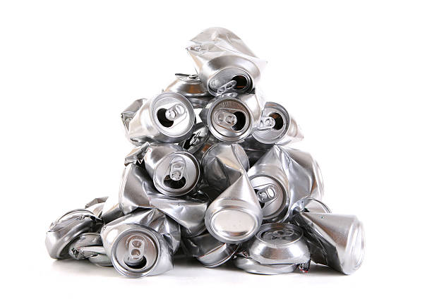 Aluminum Cans Stack of crushed aluminum cans. crushed stock pictures, royalty-free photos & images