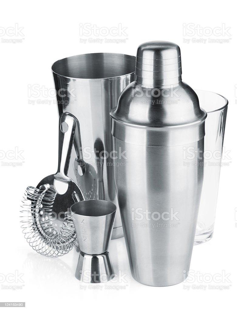 Aluminum cocktail kit over white background stock photo
