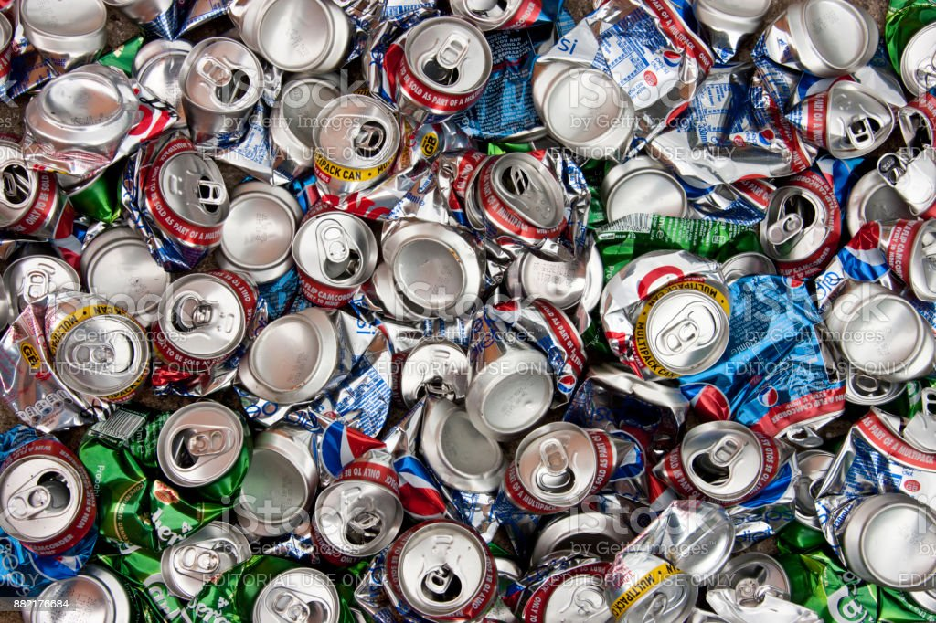 Aluminum drinks cans for recycling stock photo