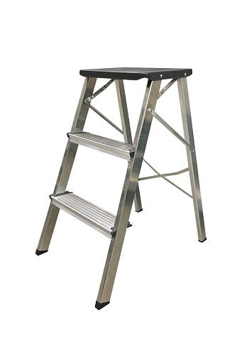 image of aluminum folding ladder isolated on white background