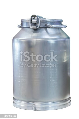 Aluminum food metal new clean houseware for farming isolate on white background. Industrial large barrel can, vessel for storing and transporting milk